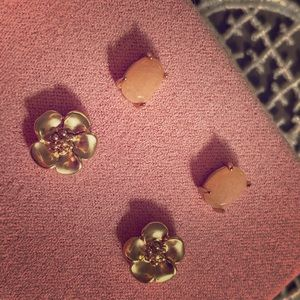 Lucky brand stud earrings, gold, peach stone, NEW